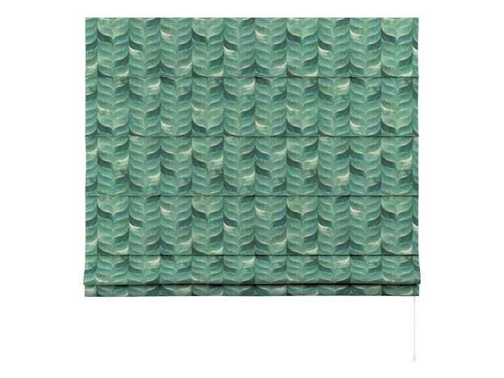 Roleta rzymska Capri, szmaragdowo-zielony wzór na lnianym tle, szer.80 × dł.170 cm, Abigail Pomieszczenie Jadalnia