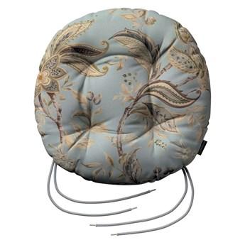 Siedzisko Adam na krzesło, roślinne wzory na błękitno- szarym tle, fi 37 × 8 cm, Gardenia