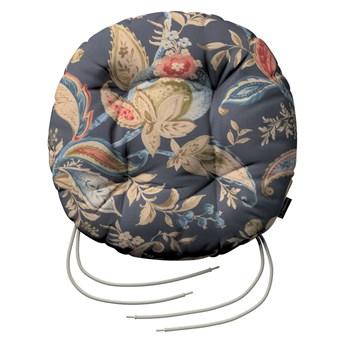 Siedzisko Adam na krzesło, roślinne wzory na szaro - granatowym tle , fi 37 × 8 cm, Gardenia