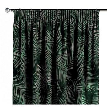 Zasłona na taśmie marszczącej 1 szt., zielony w liście, 1szt 130 × 260 cm, Velvet