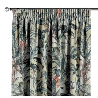 Zasłona na taśmie marszczącej 1 szt., liście w odcieniach zieleni, niebieskiego, czerwieni na beżowym tle, 1szt 130 × 260 cm, Abigail