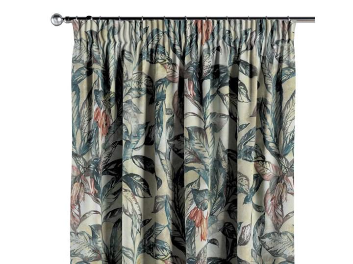 Zasłona na taśmie marszczącej 1 szt., liście w odcieniach zieleni, niebieskiego, czerwieni na beżowym tle, 1szt 130 × 260 cm, Abigail 130x260 cm Zasłona zaciemniająca Bawełna Kolor Szary