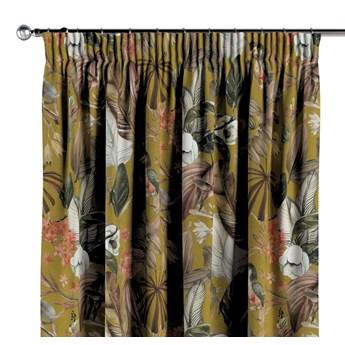 Zasłona na taśmie marszczącej 1 szt., kwiaty na musztardowym tle, 1szt 130 × 260 cm, Abigail
