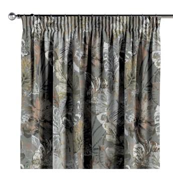 Zasłona na taśmie marszczącej 1 szt., brązowe, beżowe, morelowe kwiaty na szarym tle, 1szt 130 × 260 cm, Abigail