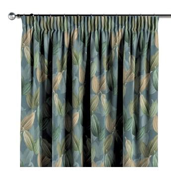 Zasłona na taśmie marszczącej 1 szt., zielone, beżowe liście na niebiesko-zielonym tle, 1szt 130 × 260 cm, Abigail