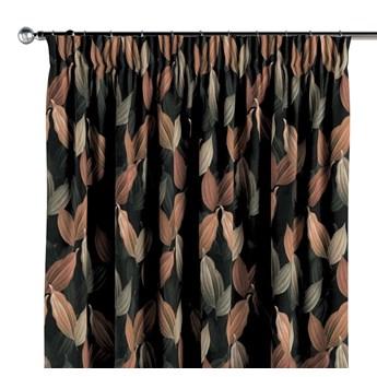 Zasłona na taśmie marszczącej 1 szt., brzoskwiniowo-brązowe liście na czarnym tle, 1szt 130 × 260 cm, Abigail