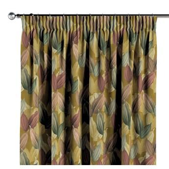 Zasłona na taśmie marszczącej 1 szt., kolorowe liście na musztardowym tle, 1szt 130 × 260 cm, Abigail