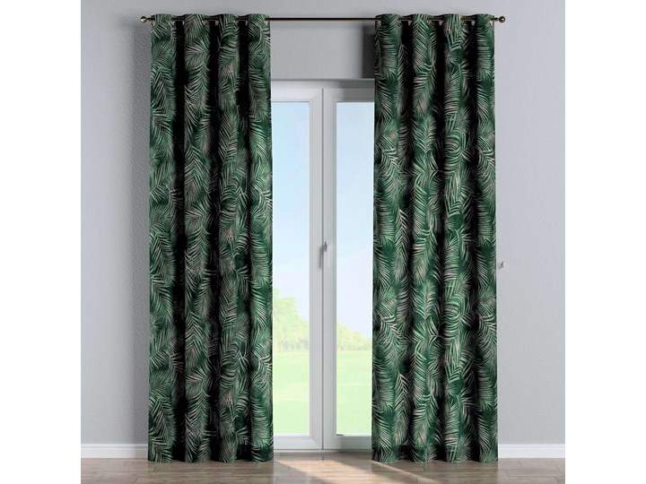 Zasłona na kółkach 1 szt., zielony w liście, 1szt 130 × 260 cm, Velvet Poliester 130x260 cm Zasłona prześwitująca Mocowanie Taśma
