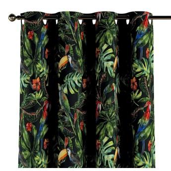 Zasłona na kółkach 1 szt., papugi i tukany na czarnym tle, 1szt 130 × 260 cm, Velvet