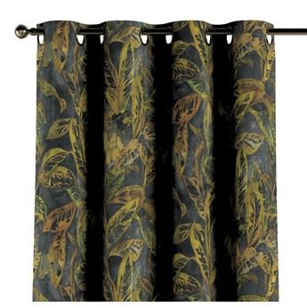 Zasłona na kółkach 1 szt., rdzawo-żółte liście na ciemnym tle, 1szt 130 × 260 cm, Abigail