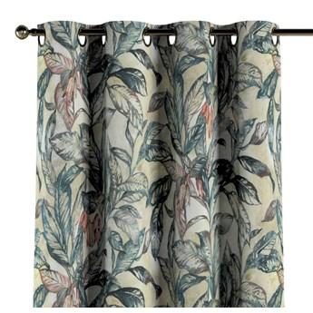 Zasłona na kółkach 1 szt., liście w odcieniach zieleni, niebieskiego, czerwieni na beżowym tle, 1szt 130 × 260 cm, Abigail