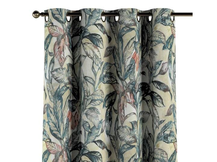 Zasłona na kółkach 1 szt., liście w odcieniach zieleni, niebieskiego, czerwieni na beżowym tle, 1szt 130 × 260 cm, Abigail 130x260 cm Bawełna Zasłona zaciemniająca Pomieszczenie Sypialnia