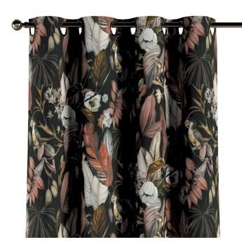 Zasłona na kółkach 1 szt., kolorowe kwiaty na czarnym tle, 1szt 130 × 260 cm, Abigail