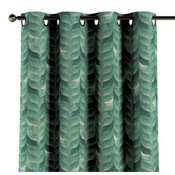 Zasłona na kółkach 1 szt., szmaragdowo-zielony wzór na lnianym tle, 1szt 130 × 260 cm, Abigail