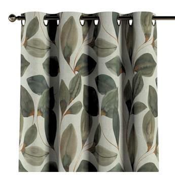 Zasłona na kółkach 1 szt., brązowo-pomarańczowe liście na szarym lnianym tle, 1szt 130 × 260 cm, Abigail