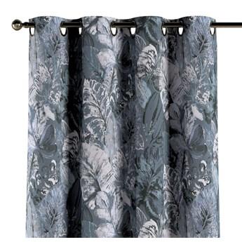 Zasłona na kółkach 1 szt., niebiesko-szare liście na szaro-niebieskim tle, 1szt 130 × 260 cm, Abigail