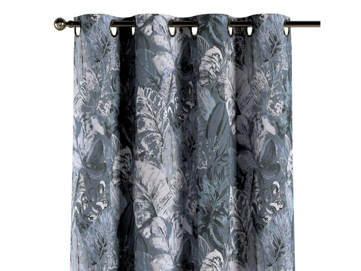 Zasłona na kółkach 1 szt., niebiesko-szare liście na szaro-niebieskim tle, 1szt 130 × 260 cm, Abigai ...