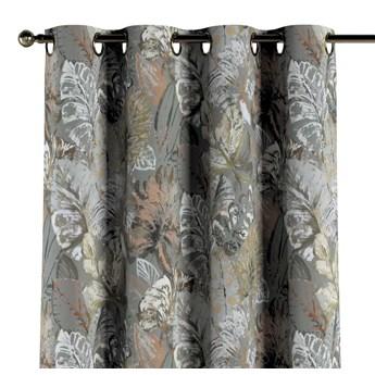 Zasłona na kółkach 1 szt., brązowe, beżowe, morelowe kwiaty na szarym tle, 1szt 130 × 260 cm, Abigail