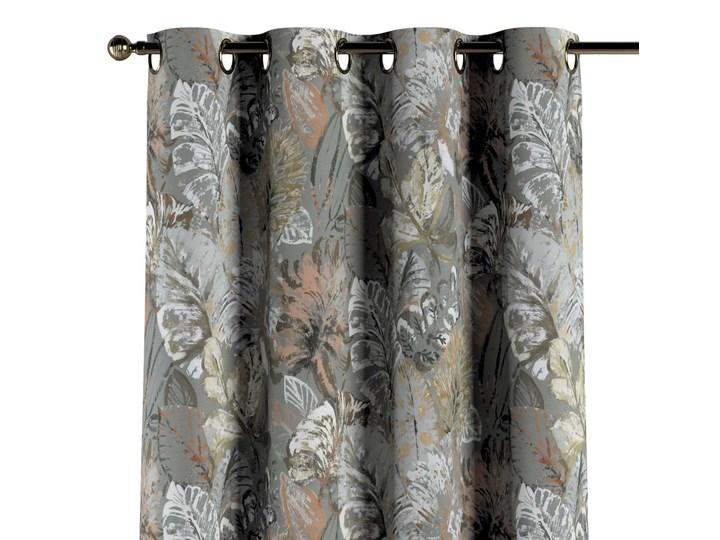 Zasłona na kółkach 1 szt., brązowe, beżowe, morelowe kwiaty na szarym tle, 1szt 130 × 260 cm, Abigail 130x260 cm Zasłona zaciemniająca Bawełna Pomieszczenie Jadalnia Pomieszczenie Sypialnia