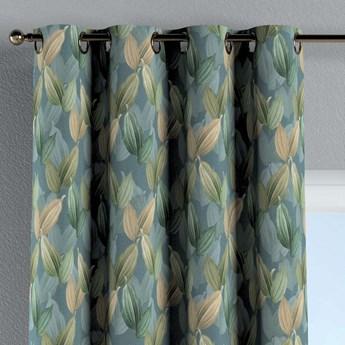 Zasłona na kółkach 1 szt., zielone, beżowe liście na niebiesko-zielonym tle, 1szt 130 × 260 cm, Abigail