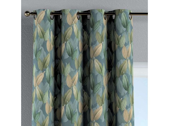 Zasłona na kółkach 1 szt., zielone, beżowe liście na niebiesko-zielonym tle, 1szt 130 × 260 cm, Abigail Bawełna 130x260 cm Zasłona zaciemniająca Wzór Kwiaty