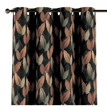 Zasłona na kółkach 1 szt., brzoskwiniowo-brązowe liście na czarnym tle, 1szt 130 × 260 cm, Abigail