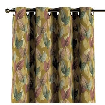 Zasłona na kółkach 1 szt., kolorowe liście na musztardowym tle, 1szt 130 × 260 cm, Abigail