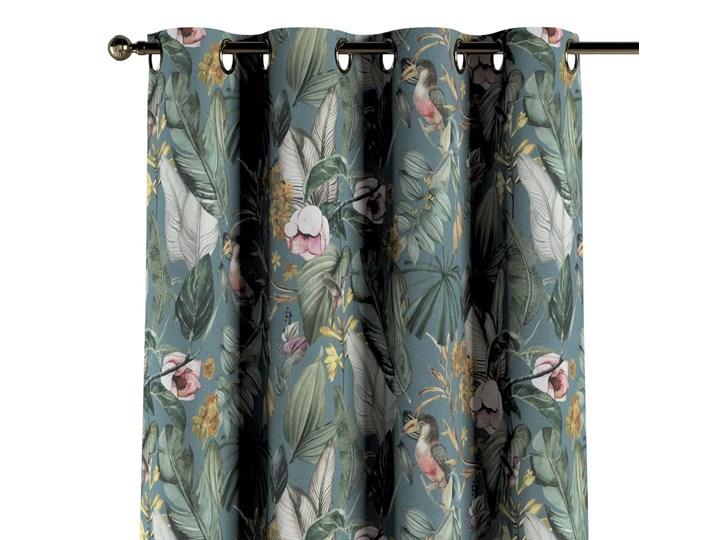 Zasłona na kółkach 1 szt., kwiaty na zielono-niebieskim tle, 1szt 130 × 260 cm, Abigail 130x260 cm Bawełna Mocowanie Taśma Zasłona zaciemniająca Pomieszczenie Salon