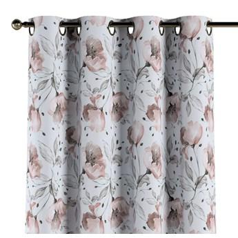 Zasłona na kółkach 1 szt., różowe kwiaty na kremowym tle, 1szt 130 × 260 cm, Velvet