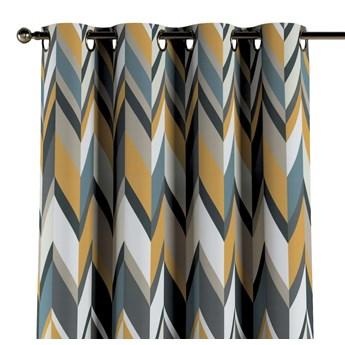 Zasłona na kółkach 1 szt., geometryczne wzory w żółto-niebiesko-bezowej kolorystyce, 1szt 130 × 260 cm, Vintage 70's