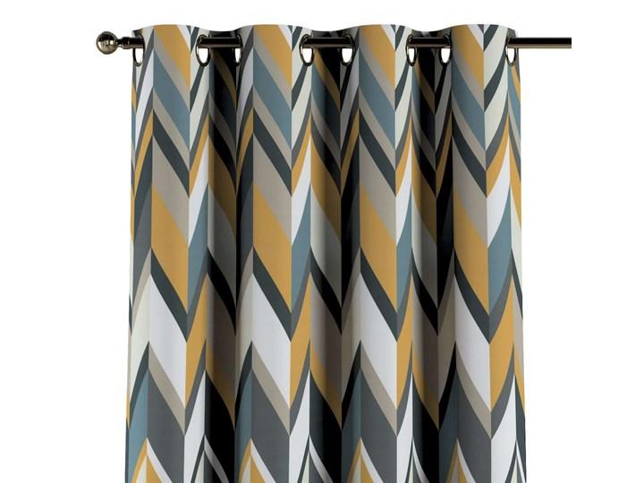 Zasłona na kółkach 1 szt., geometryczne wzory w żółto-niebiesko-bezowej kolorystyce, 1szt 130 × 260 cm, Vintage 70's Poliester Bawełna 130x260 cm Kolor Wielokolorowy