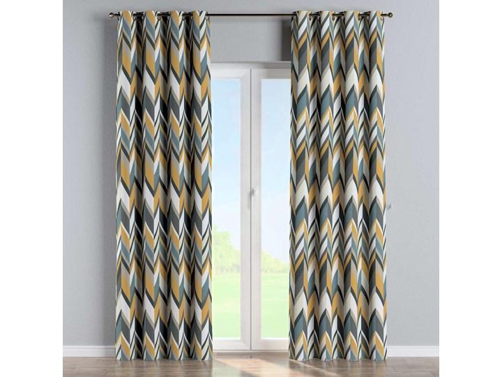 Zasłona na kółkach 1 szt., geometryczne wzory w żółto-niebiesko-bezowej kolorystyce, 1szt 130 × 260 cm, Vintage 70's Poliester 130x260 cm Bawełna Pomieszczenie Jadalnia