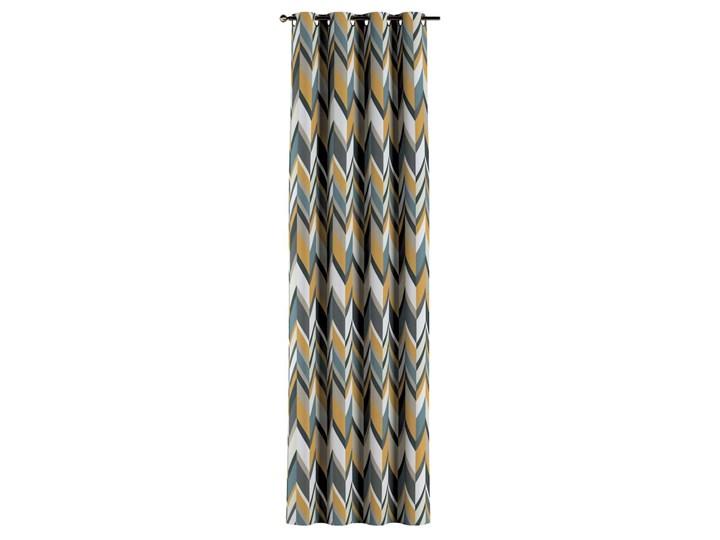 Zasłona na kółkach 1 szt., geometryczne wzory w żółto-niebiesko-bezowej kolorystyce, 1szt 130 × 260 cm, Vintage 70's Poliester Bawełna 130x260 cm Pomieszczenie Jadalnia