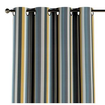 Zasłona na kółkach 1 szt., kolorowe pasy w niebiesko-żółto-szarej kolorystyce, 1szt 130 × 260 cm, Vintage 70's