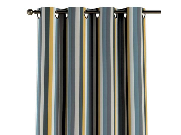 Zasłona na kółkach 1 szt., kolorowe pasy w niebiesko-żółto-szarej kolorystyce, 1szt 130 × 260 cm, Vintage 70's Pomieszczenie Salon Bawełna Poliester 130x260 cm Kategoria Zasłony