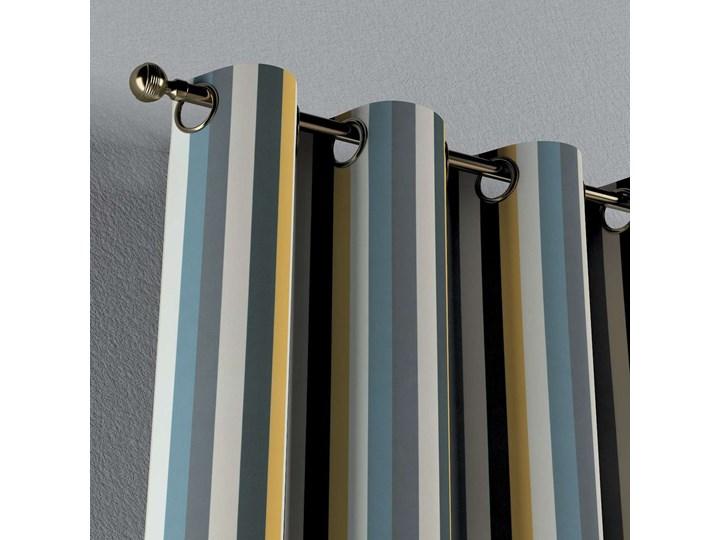 Zasłona na kółkach 1 szt., kolorowe pasy w niebiesko-żółto-szarej kolorystyce, 1szt 130 × 260 cm, Vintage 70's Bawełna 130x260 cm Poliester Pomieszczenie Salon