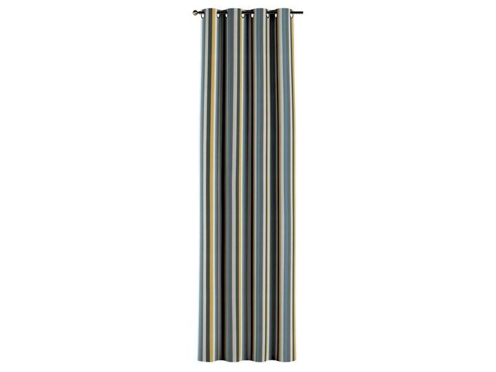 Zasłona na kółkach 1 szt., kolorowe pasy w niebiesko-żółto-szarej kolorystyce, 1szt 130 × 260 cm, Vintage 70's Bawełna 130x260 cm Poliester Pomieszczenie Jadalnia