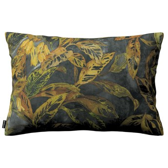 Poszewka Kinga na poduszkę prostokątną, rdzawo-żółte liście na ciemnym tle, 60 × 40 cm, Abigail