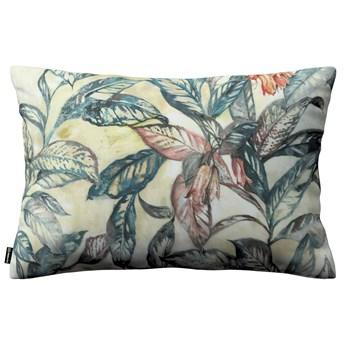Poszewka Kinga na poduszkę prostokątną, liście w odcieniach zieleni, niebieskiego, czerwieni na beżowym tle, 60 × 40 cm, Abigail