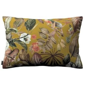 Poszewka Kinga na poduszkę prostokątną, kwiaty na musztardowym tle, 60 × 40 cm, Abigail
