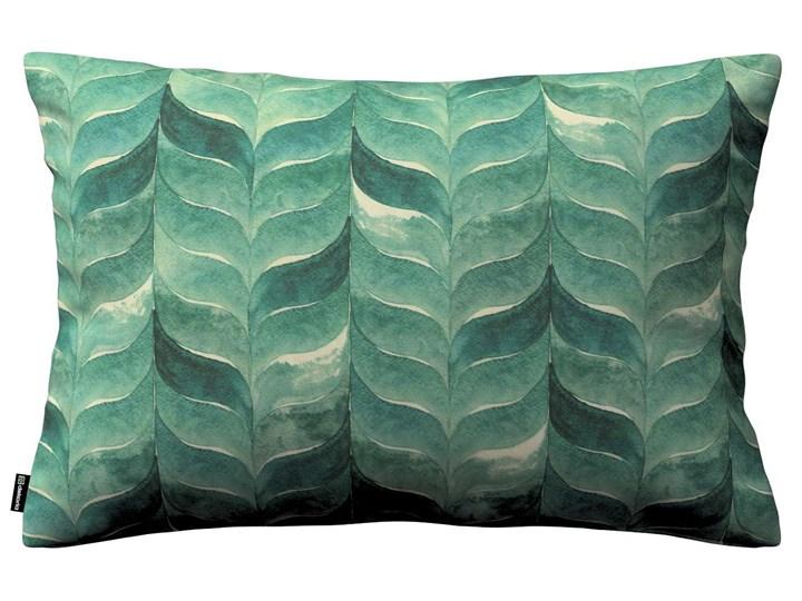 Poszewka Kinga na poduszkę prostokątną, szmaragdowo-zielony wzór na lnianym tle, 60 × 40 cm, Abigail