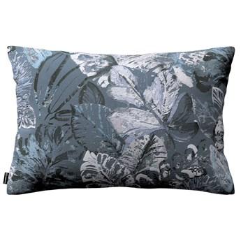 Poszewka Kinga na poduszkę prostokątną, niebiesko-szare liście na szaro-niebieskim tle, 60 × 40 cm, Abigail
