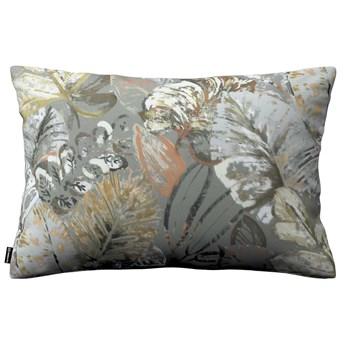 Poszewka Kinga na poduszkę prostokątną, brązowe, beżowe, morelowe kwiaty na szarym tle, 60 × 40 cm, Abigail