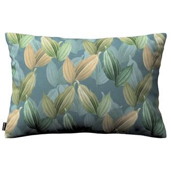 Poszewka Kinga na poduszkę prostokątną, zielone, beżowe liście na niebiesko-zielonym tle, 60 × 40 cm, Abigail
