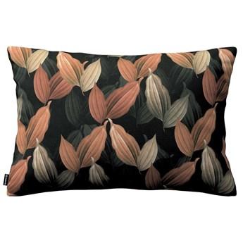 Poszewka Kinga na poduszkę prostokątną, brzoskwiniowo-brązowe liście na czarnym tle, 60 × 40 cm, Abigail