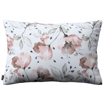 Poszewka Kinga na poduszkę prostokątną, różowe kwiaty na kremowym tle, 60 × 40 cm, Velvet