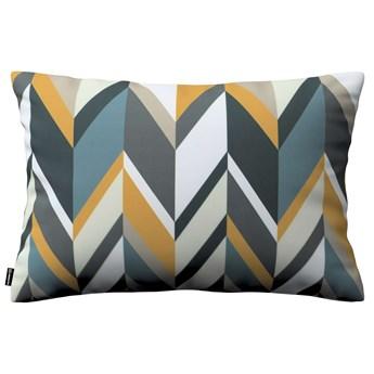 Poszewka Kinga na poduszkę prostokątną, geometryczne wzory w żółto-niebiesko-bezowej kolorystyce, 60 × 40 cm, Vintage 70's