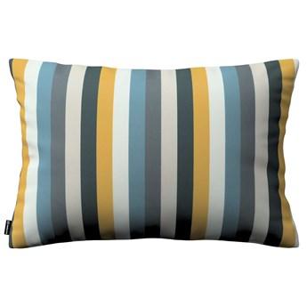 Poszewka Kinga na poduszkę prostokątną, kolorowe pasy w niebiesko-żółto-szarej kolorystyce, 60 × 40 cm, Vintage 70's
