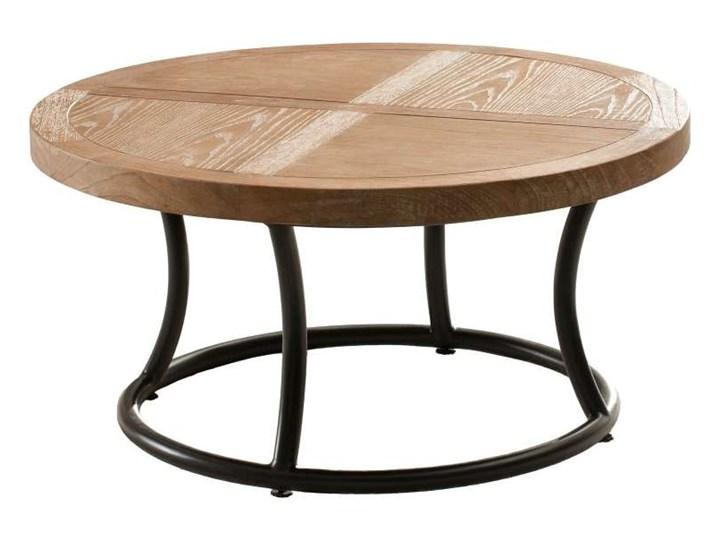 Stolik okrągły Kendari natural 90cm, 90 × 46 cm Styl Minimalistyczny Drewno Metal Styl Nowoczesny