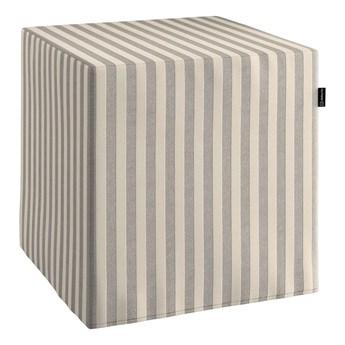 Pufa kostka, szaro białe pasy (1,5cm), 40 × 40 × 40 cm, Quadro